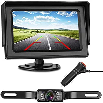 """RAAYOO 8 LED Light Super Night Vision Car Parking Rear View License Plate Camera and 5/"""" Color TFT LCD Backup Monitor with Suction Cup Bracket RYL004 Backup Camera and Monitor Kit for Car"""