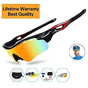 Sports Sunglasses For Men Women Cycling Glasses Polarized Baseball Running Fishing Driving Golf With 5 Interchangeable Lenses (Black-black hotsale, 5 lens)
