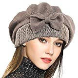 VECRY Women's 100% Wool Bucket Hat Felt Cloche Bow Dress Winter Hats (Camel)