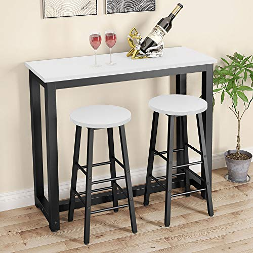 Tribesigns 3-Piece Pub Dining Table Set, Counter Height Kitchen Breakfast Bar Table with Stools Set for Dining Room, Living Room (White)