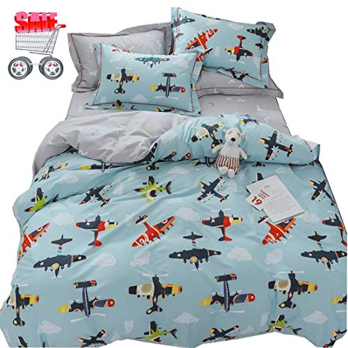 Cotton Bedding Sets Kids Cartoon Duvet Cover Reversible Constellation Airplane Printed Bedding Comforter Cover Blue, Teens Boys Girls Bed Set, Zipper Closure, Breathable, Lightweight, King Size