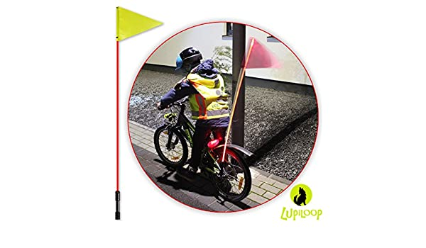 lupiloop – Intermitente rojo LED bicicleta banderín Barra | Bandera banderín de bicicleta | Seguridad para Bicicleta, Bicicleta infantil (Rueda, triciclo, Buggy Kettcar, Scooter o silla | brillante, luz intermitente roja como