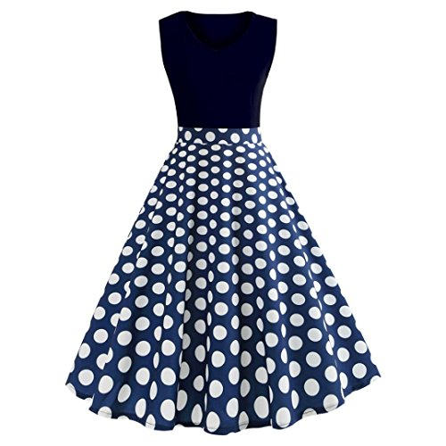 DIANA'S Dress, Women Vintage Printing Sleeveless Casual Evening Party Prom ()