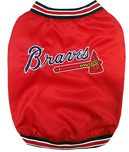 (MLB Atlanta Braves Dugout Jacket for Dogs & Cats, Small. - Warm, Team Color & Logo with Velcro Closure)