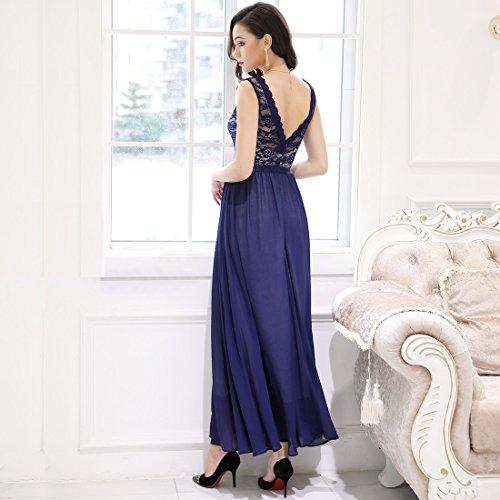 ... Miusol Damen Elegant Abendkleid Rundhals Schwarze Spitzen Brautjungfer  Cocktailkleid Vintage Cocktailkleid Chiffon Maxi Kleid D- ... 95c47842b6