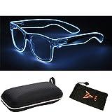 (#LEDGlass Wht) CPS El Wire Glow Sun Glasses Led DJ Bright Light Safety Light Up Multicolor Frame Rave LED flashing glasses