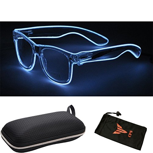 (#LEDGlass Wht) CPS El Wire Glow Sun Glasses Led DJ Bright Light Safety Light Up Multicolor Frame Rave LED flashing glasses by CPS