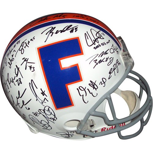 2006 Florida Gators National Championship Team and Urban Meyer Autographed Florida Gators (Throwback) Deluxe Replica Helmet - 44 Signatures (Florida Gators Throwback Helmet)