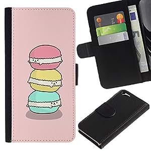 Planetar® Modelo colorido cuero carpeta tirón caso cubierta piel Holster Funda protección Apple (4.7 inches!!!) iPhone 6 / 6S ( Macaroon Sweet Bakery Baking Pink )