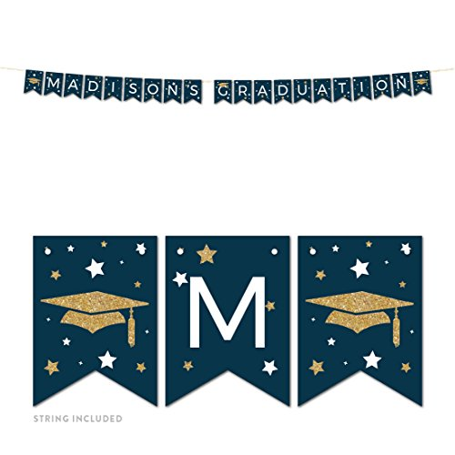 Andaz Press Navy Blue and Gold Glittering Graduation Party Collection, Personalized Hanging Pennant Party Banner with String, Madison's Graduation, 5-Feet, 1 Set, Custom Name