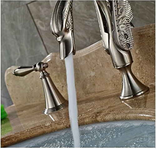 Gowe Brushed Nickle Bath 3pcs Sink Tap Deck Mounted Double Handles Hot&Cold Faucet 4