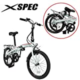 Xspec 20″ 7 Speed City Folding Compact Bike Bicycle Urban Commuter Shimano White
