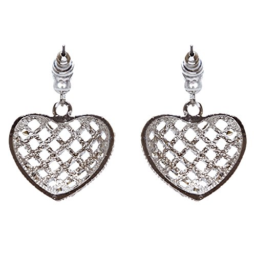 ACCESSORIESFOREVER Women Valentine's Day Jewelry Crystal Rhinestone Charming Heart Dangle Earrings E933SV by Accessoriesforever (Image #1)