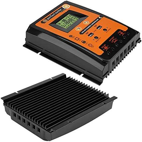 Regolatore caricabatterie solare MPPT - Regolatore batterie pannello solare Display LCD con display porta USB doppio 12V / 24V Protezione sicura(70A)