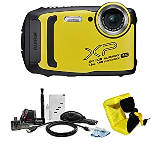 Fujifilm FinePix XP140 Digital Camera (Yellow) w/Floating Strap Accessory Bundle - Water, Shock, Freeze, and Dustproof