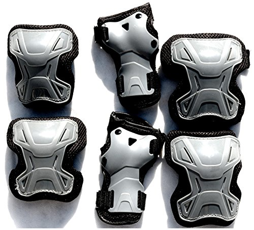 Schutzausrüstung 6 tlg. Set Gr. S schwarz-grau Ellenbogen Knie Handgelenkschützer für Roller Skate Inliner