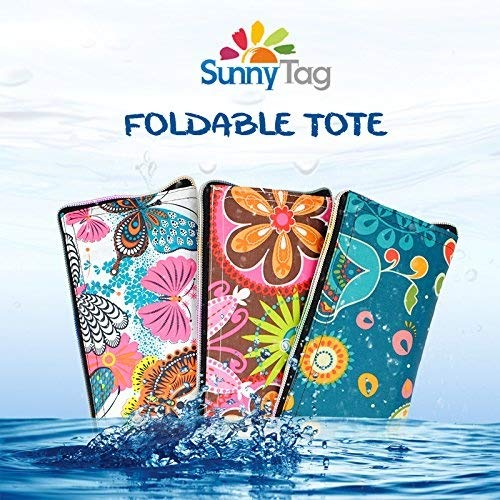 Sunny Tag Foldable Reusable Eco friendly Wallet Style Grocery Shopping Travel Bag Tote Pack of 3 Tropical Butterfly Flowers Water repellent, Washable, Hold up to 33 LBS or 15 KG.