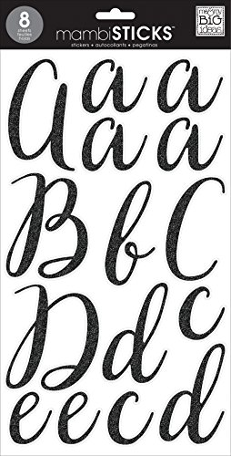 me & my BIG ideas Large Alpha Sticker Victoria Black Lace Up, Cursive Black, Add Glitter