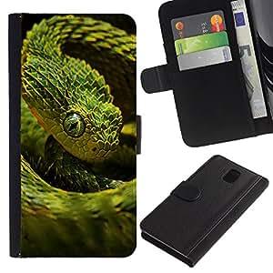 Protector de cuero de la PU de la cubierta del estilo de la carpeta del tirón BY RAYDREAMMM - Samsung Galaxy Note 3 III - Verde Escala Serpiente