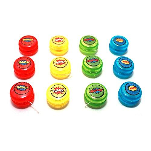 (Sunflower Day Superhero Party Favors Mini Yoyos 12 Pack for Kids Birthday 1.5 Inch Diameter)