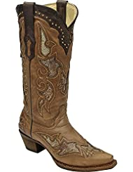 CORRAL Womens Ostrich Leg Inlay Cowgirl Boot Snip Toe - A2964