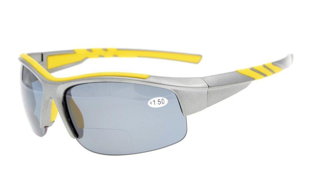 Eyekepper TR90 Unbreakable Sports Polycarbonate Polarized Bifocal Half Rimless Sunglasses Baseball Running Fishing Driving Golf Softball Hiking Grey Frame Grey Lens 3.0