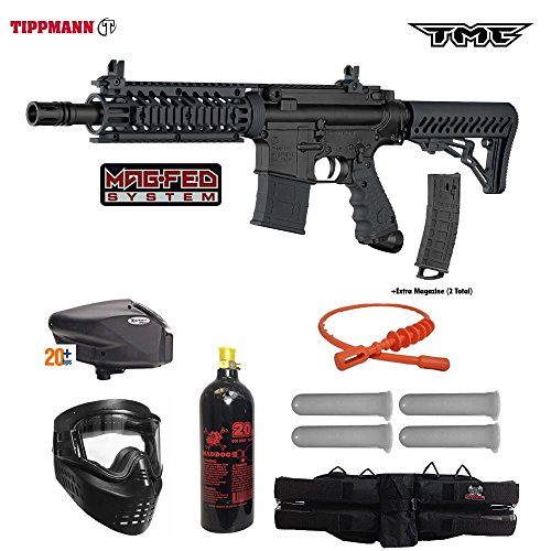 Tippmann TMC MAGFED Gold Paintball Gun Package - Black/Black ()