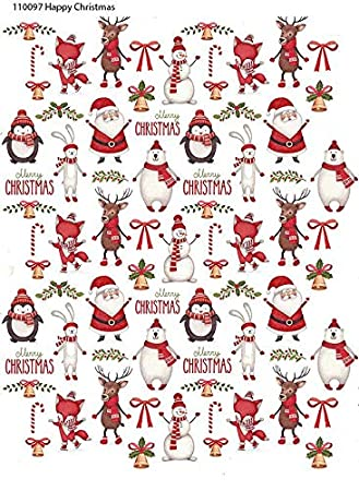 Happy Christmas - 110097 - Ceramic Decal - Enamel Decal - Glass Decal - Waterslide Decal - 3 Different Size Sheet (Images) to Choose from. Choose Either Ceramic (Enamel) or Glass Fusing Decals XpressionDecals