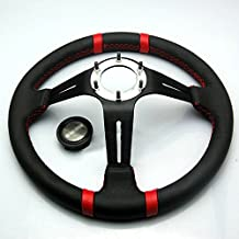 "Liquor Car New 14"" inch 350mm Diameter 3"" Deep Aluminum Sport Race Racing Steering Wheel With Horn Button Leather Red Line"