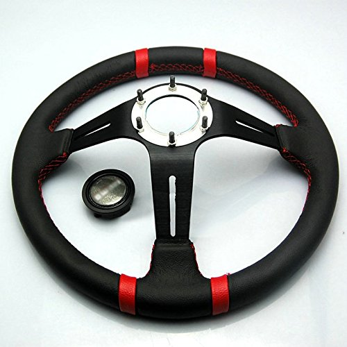 Liquor Car New 14' inch 350mm Diameter 3' Deep Aluminum Sport Race Racing Steering Wheel With Horn Button Leather Red Line