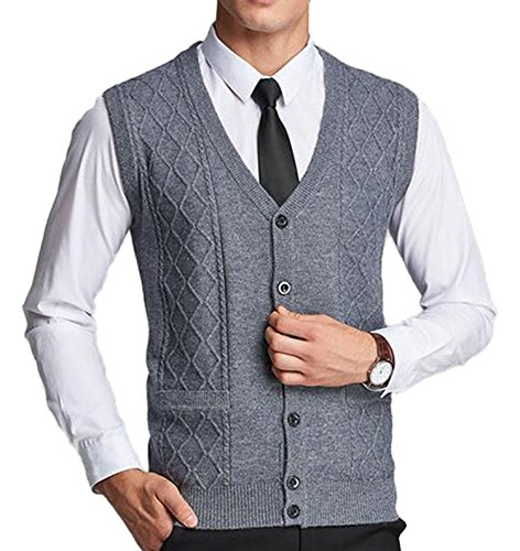 DD.UP Men's Solid Color V-Neck Argyle Pattern Button Down Sweater Vest Cardigan with - Mens Argyle Down Vest Button