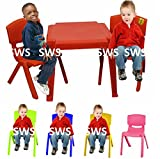 Childrens Kids Plastic Garden Outdoor Or Indoor Table and 2 Chairs Set For Boys Or Girls Pink Blue Yellow Green Red