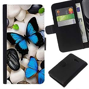 KingStore / Leather Etui en cuir / Sony Xperia M2 / Mariposa de neón iridiscente Pebble Art Blue