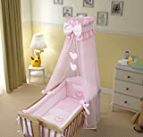 9 Piece Crib Baby Bedding Set 90x40cm Fits Swinging/Rocking Cradle (Hearts Pink)