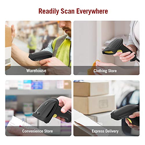 TaoTronics Barcode Scanner, Handheld USB Barcode Scanner, 1D Laser Wired Bar Code Scanner, Fast and Precise Scan Support Windows/Mac OS/Android System for Inventory Management by TaoTronics (Image #3)