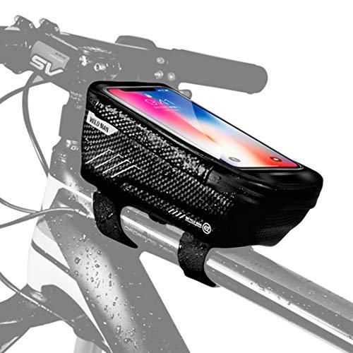 WILD MAN Road Bike Phone Mount Bag Waterproof Handlebar Top Tube Storage Cycling Bicycle Package Bike Front Frame Bag MTB Touch Screen Phone Holder Case E2