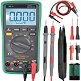 Digital Multimeter Auto-Ranging Digital Multimeter with Alligator Clips Electronic Measuring Instrument AC Voltage Test Meter Home Use Electronic DIY Hand Tools with Backlight LCD Display