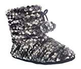 Mercury Womens Sweater Boots,Pom Pom Bootie Slippers Indoor,Memory Foam House Booties,Fuzzy Boot Slipper Black M 8