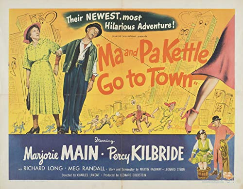 Berkin Arts Movie Poster Giclee Print On Canvas-Film Poster Reproduction Wall Decor(Ma and Pa Kettle Go to Town 2) #XFB