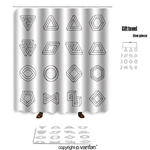 vanfan bath sets with Polyester rugs and shower curtain set of impossible shapes optical illusion vec shower curtains sets bathroom 60 x 78 inches&23.6 x 15.7 inches(Free 1 towel and - Glass Wikipedia Optical