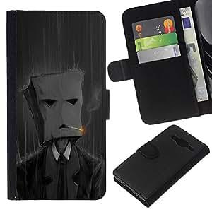 EJOY---La carpeta del tirón la caja de cuero de alta calidad de la PU Caso protector / Samsung Galaxy Core Prime / --Fumar Bolsa de papel Hombre