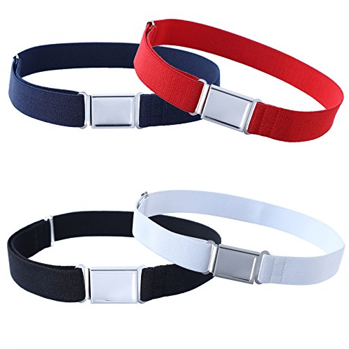 4PCS Kids Boys Adjustable Magnetic Belt - Big Elastic Stretch Belt with Easy Magnetic Buckle (Navy Blue/Red/Black/White)