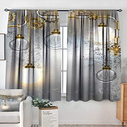 (Elliot Dorothy Blackout Curtains for Bedroom Industrial Decor,Steampunk Antique Composition Brass Fastening Round Figures Print,Gold Grey White,Darkening and Thermal Insulating Draperies 42