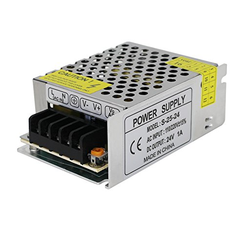NeeKeons AC 110V-240V To DC 24V 1A(24W) Switching Power Supply Transformer Regulated for LED Strip light, CCTV, Radio, Computer Project etc (24V1A)