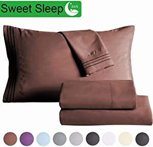 """SAKIAO Twin XL Size Bed Sheets Set - Brushed Microfiber 1800 Thread Count Percale - 16"""" Deep Pocket Egyptian Sheets Beautiful Breathable Wrinkle Free & Fade Resistant - 3 Piece (Brown,Twin XL)"""