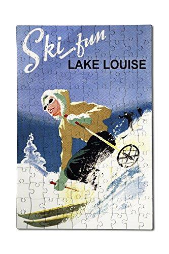 Ski Fun Lake Louise - Vintage Skier (12x18 Premium Acrylic Puzzle, 130 Pieces) (Fun Ski Park)