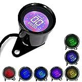 12V Universal Digital Motorbike Speedometer Tachometer Oil Level (Black Shell)
