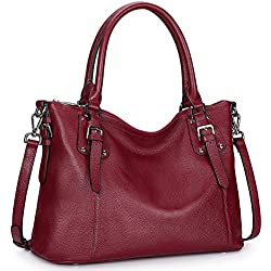 S-ZONE Women's Vintage Genuine Leather Tote Handbag Large Crossbody Bag Work Shoulder Purse with Zipper Pocket Outside (Large-Wine Red)