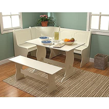 3-Pc Corner Dining Set , White 2 corner wall nooks with ...