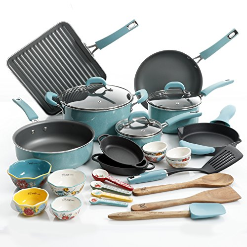 The Pioneer Woman 30pc Cookware Set (Turquoise) Vintage Speckle Limited Edition
